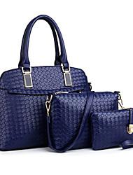 economico -Donna Sacchetti PU (Poliuretano) Tote Set di borsa da 3 pezzi per Casual Per tutte le stagioni Blu Oro Nero Rosso Beige