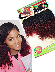 8pieces/lot Brazilian Kinky Curly Hair 8-14inch Human Hair Weave Bundles Remy Hair Bundles ombre burgundy two tones brown color afro curly weft