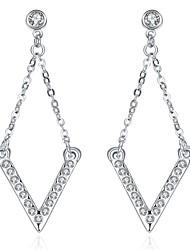 Women's Drop Earrings Crystal AAA Cubic ZirconiaBasic Unique Design Dangling Style Rhinestone Heart Natural Geometric Friendship Turkish