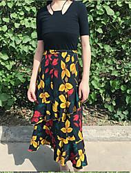 Damen Blumen Muster Normal T-Shirt-Ärmel Rock Anzüge,Rundhalsausschnitt Sommer Kurzarm