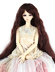 Synthetic Doll Accessories Long Kinky Curly Dark Brown Color for 1/3 1/4 Bjd SD DZ MSD Doll Costume Wig Not for Human Adult