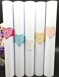 cheap -40pcs/lots Wedding Napkin Holder Laser Cut Lace Heart Napkin Ring Party Favor Paper Napkin Ring For Wedding Decoration Party Supplies