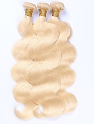 cheap -Human Hair Malaysian Natural Color Hair Weaves Body Wave Hair Extensions 3 Pieces Blonde