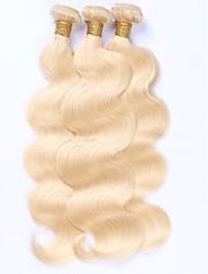 Натуральные волосы Малазийские волосы Человека ткет Волосы Естественные кудри Наращивание волос 3 предмета Отбеливатель Blonde