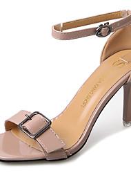 Недорогие -Для женщин Сандалии Полиуретан Лето Для прогулок С отверстиями На шпильке Бежевый Розовый 7 - 9,5 см