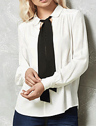 cheap -Women's Polyester Shirt - Color Block Simple, Classic Stylish Shirt Collar