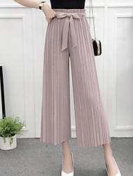 cheap -Women's Mid Rise Micro-elastic Wide Leg Relaxed Pants,Casual Solid Summer