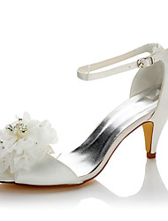 Women's Sandals Basic Pump Summer Fall Satin Wedding Dress Party & Evening Flower Cone Heel White 2in-2 3/4in