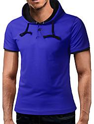 Kortærmet Rund hals Herrer Ensfarvet Kineseri Afslappet/Hverdag T-shirt,Bomuld