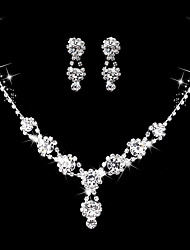 Women's Drop Earrings Choker Necklaces Bridal Jewelry Sets AAA Cubic Zirconia Rhinestone Vintage Elegant Fashion Wedding Anniversary