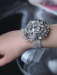 abordables -diamante de lujo de alto grado gris novia muñeca corsages accesorios de la boda