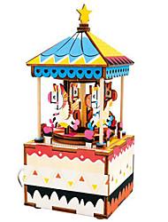 baratos -Quebra-Cabeças de Madeira Cavalo Carrossel Desenho Merry Go Round Fofinho Faça Você Mesmo De madeira Composto Crianças Dom
