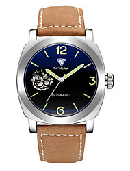 Men's Skeleton Watch Mechanical Watch Japanese Automatic self-winding Noctilucent Leather Band Black Brown Yellow