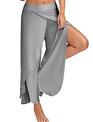 Women's Mid Rise Micro-elastic Wide Leg Pants,Simple Wide Leg Split Solid