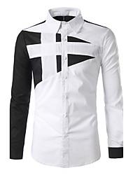 Для мужчин На каждый день Все сезоны Рубашка Классический воротник,Простое Богемный Пэчворк Длинный рукав,Хлопок,Средняя