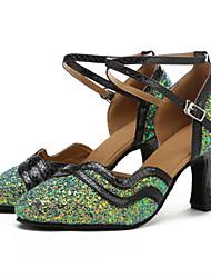 Damen Modern Paillette Kunstleder Sandalen Absätze Professionell Pailletten Verschlussschnalle Farbaufsatz Maßgefertigter Absatz Weiß Grün