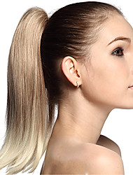 cheap -High Quality Blonde Synthetic 12 inch Long Straight Ponytail Hair Piece