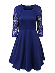 Women's Party Plus Size Work Sexy Simple Street chic A Line Swing DressSimple Patchwork Pleated Lace Square Neck Above Knee Half Sleeve