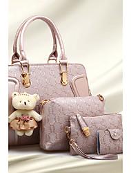 Недорогие -Жен. Мешки PU Сумка-шоппер Комплект поставки 4 шт. Пурпурный / Винный / Светло-лиловый