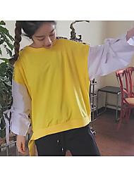 Sweatshirt Femme Quotidien Décontracté Couleur Pleine Rayé Motif Couleur unie Col Arrondi Doublure Polaire Micro-élastiquePolyester