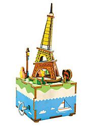 baratos -Quebra-Cabeças de Madeira Torre Construções Famosas Desenho Faça Você Mesmo De madeira Composto Ferro Romântico Crianças Dom