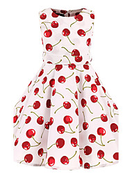 Girl's White Cherry Vintage Inspired Sleeveless 50s Rockabilly Swing Dress Cotton All Seasons Sleeveless