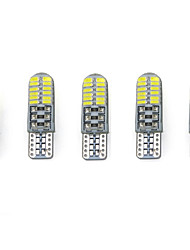 3W White DC12V T10 SMD3014 24LED  Canbus Decorative Lamp Reading Light License Plate Light Door Lamp  5PCS