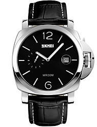 SKMEI Men's Fashion Watch Wrist watch Quartz Calendar Water Resistant / Water Proof Large Dial Genuine Leather Band Black