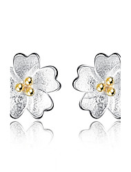 cheap -Women's Stud Earrings Flower Style Flowers Floral Silver-plated Flower Jewelry For Graduation Business Daily Evening Party