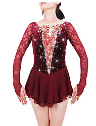 Women's Girls' Figure Skating Dress Ice Skating Dress Keep Warm Handmade Long Sleeves Performance Skirt Dress Bottoms High Elasticity