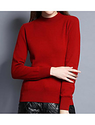 Standard Pullover Da donna-Casual Romantico Tinta unita Girocollo Manica lunga Cashmere Primavera Spesso Media elasticità