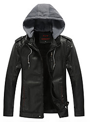 Men's Daily Casual Vintage Casual Windproof Fall Winter Leather Jacket,Solid Hooded Long Sleeve Regular PU