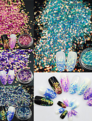 4Bottles/Set Summer Hot Fashion Colorful Nail Art Hexagon Shining Sequins Sweet Style Flash Mermaid Paillette Nail Salon DIY Beauty Decoration TL