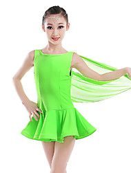 Shall We Latin Dance Dresses Women's Performance Nylon Tulle Feathers 1 Piece Sleeveless High Dresses