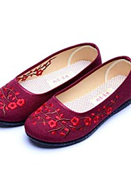Mulheres Sapatos Tecido Primavera Outono Conforto Solados com Luzes Rasos Sem Salto Ponta Redonda Flor para Casual Preto Vermelho Escuro