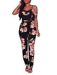 Women's High Rise Casual/Daily Club Holiday JumpsuitsVintage Sexy Boho Slim Ruffle Holiday Layered Backless Hin Thin Color Block Flower Spring Summer