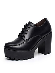 cheap -Women's Heels Formal Shoes Spring Fall Real Leather Casual Office & Career Lace-up Chunky Heel Platform Black 3in-3 3/4in