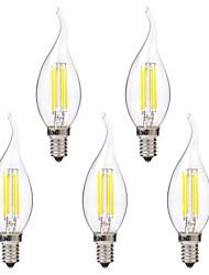 baratos -Brelong 5 pcs 4 w e14 levou dimmable vela lâmpada c35 dc12v branco / branco quente