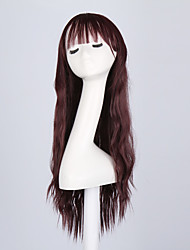 Cabelo Sintético perucas Ondulado Sem Touca Peruca Natural Longo Vermelho Perucas sintéticas