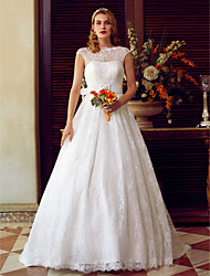 A-Line Illusion Neckline Sweep / Brush Train Lace Wedding Dress with Sashes/ Ribbons by LAN TING BRIDE®