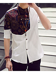Men's Casual/Daily Simple Spring Fall Shirt,Patchwork Stand Half Sleeves Linen Others
