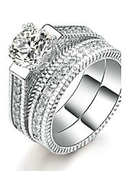 preiswerte -Damen Ring Kubikzirkonia Luxus Elegant Doppelschicht Kubikzirkonia Platin Kreisförmig Modeschmuck Hochzeit Jahrestag Party / Abend