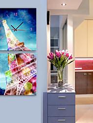 Модерн Цветы и растения Пейзаж Прочее Архитектура Абстракция Настенные часы,Прямоугольный Квадратный В помещении Часы