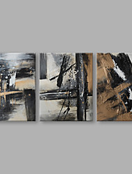 cheap -IARTS® Hand Painted Modern Abstract Black White & Beige Color Lines on Canvas Set of 3 Oil Painting On Canvas with Stretched Frame Wall Art For Home