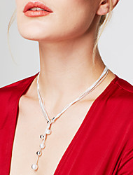 cheap -Women's Ball Sterling Silver Silver Chain Necklace Y-Necklace  -  Personalized Long Fashion Y Shaped Silver Necklace For Party Gift Daily