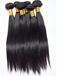 6Pcs/300g 8-26inch Brazilian Virgin Natural Straight Hair Natural Black  Human Hair Weaves
