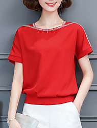 Women's Graduation Office/Career Business Other Daily Casual Sexy Street chic Sophisticated Spring Summer T-shirt,Solid AsymmetricalShort