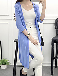 Women's Casual/Daily Long Cardigan,Solid Cowl Long Sleeve Cotton Summer Thin Micro-elastic