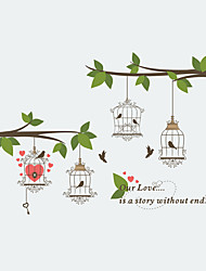 cheap -Wall Stickers Wall Decas Style Tree - Branch Cage Bird Lover PVC Wall Stickers