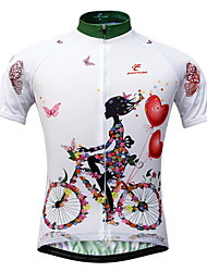 cheap -JESOCYCLING Women's Short Sleeves Cycling Jersey - White Floral / Botanical Bike Jersey, Quick Dry, Ultraviolet Resistant, Breathable